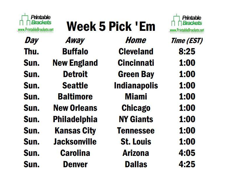 It's just an image of Nfl Week 8 Printable Schedule for season