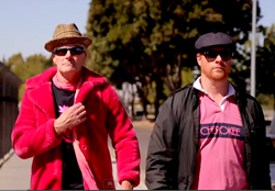 Mayor Robert Poythress, left, and former mayor Brett Frazier, right, in the new video parodying Thrift Shop promoting the Madera Pomegranate Festival.