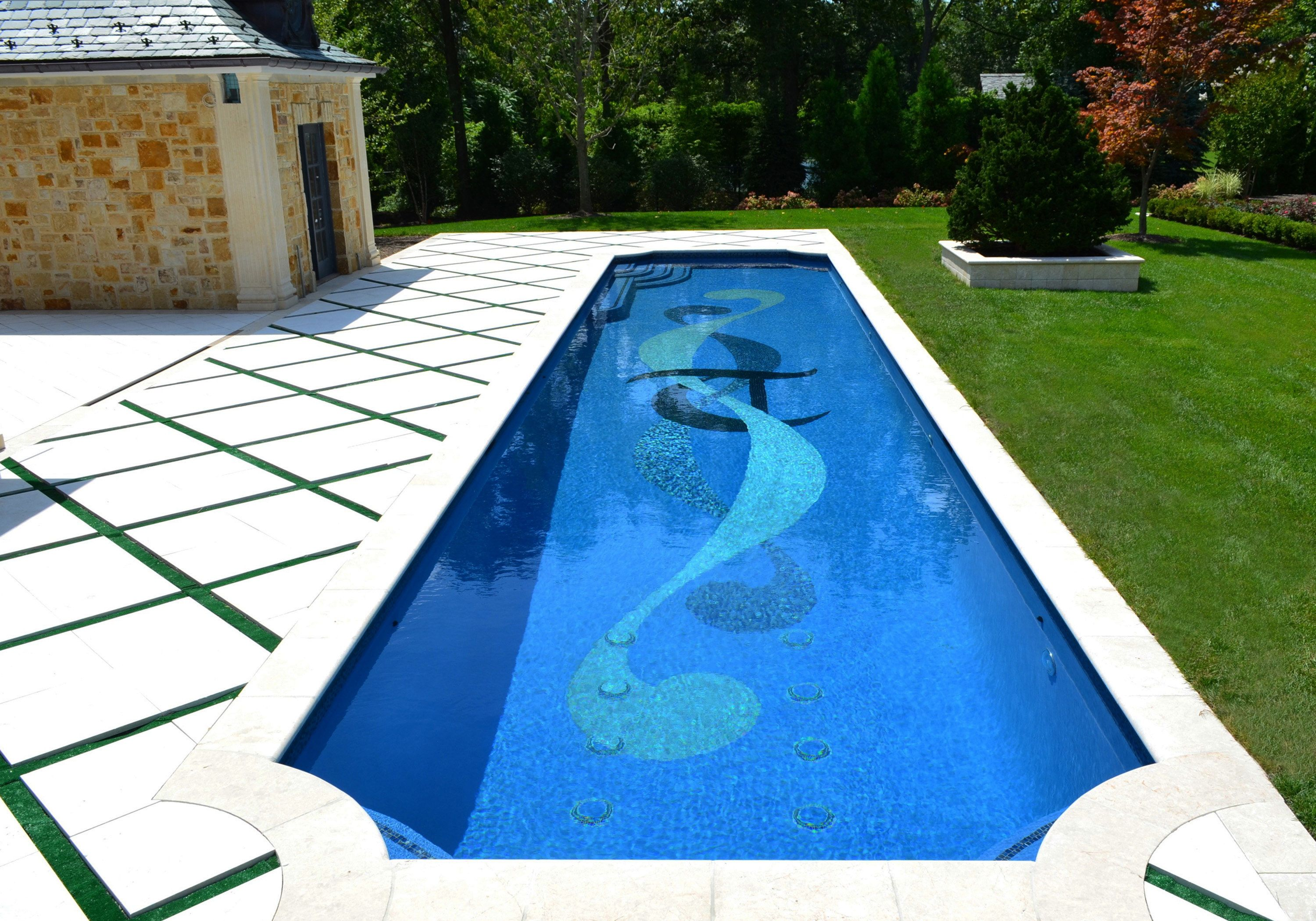Luxury Inground Swimming Pool Design Bergen County NJLuxury Glass Tile Inground  Swimming Pool Design Bergen County NJ