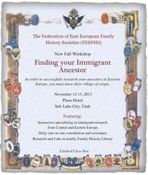 Advertisement for The Federation of East European Family History Societies (FEEFHS) New Fall Workshop.
