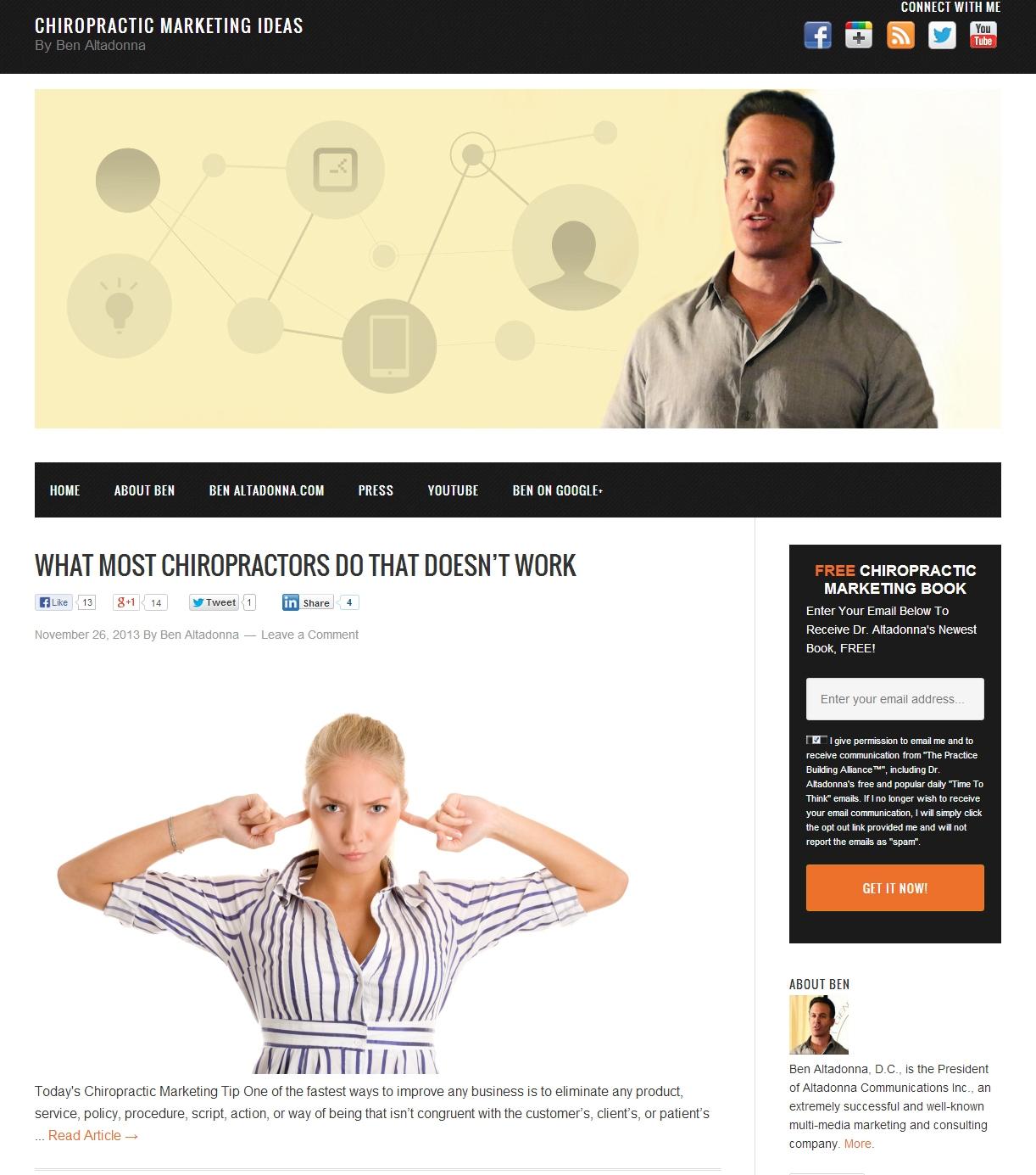 "ben altadonna launches new ""chiropractic marketing ideas"" blog"