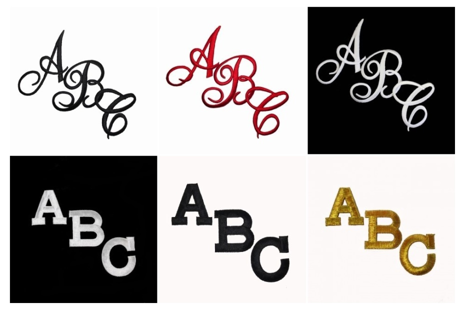 iron on letter applique patchesembroidered iron on letters available in script or block letters in a variety of colors