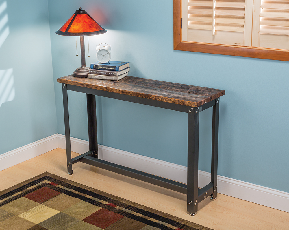 Rockler adds contemporary diy accent tables new steel table frame sofa table kit finished with rocklers reclaimed lumber solutioingenieria Choice Image