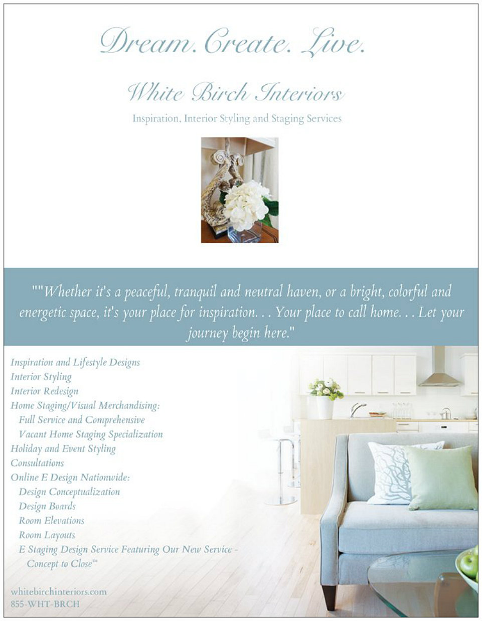 White Birch Interiors™ Premiers It's Online E Design Service ... on home inspection flyer, home cleaning flyer, home security flyer, home buying flyer, home maintenance flyer, organizing your home flyer, home listing flyer, home insurance flyer, home repairs flyer,