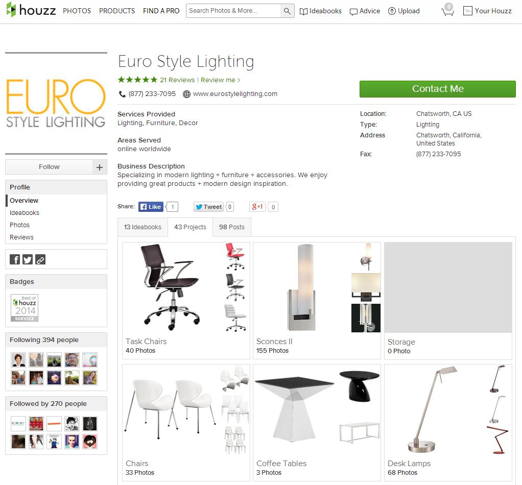 Eurostylelighting Receives Best Of Houzz Award In Customer Satisfaction