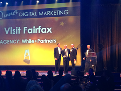 Barry Biggar, Visit Fairfax CEO, and Matt White, White+Partners CEO, accept the HSMAI Digital Marketing Best in Show award.