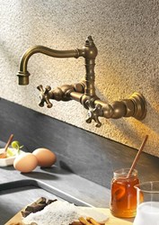 cifial 267.260.v05 double handle wall mounted kitchen faucet from the highlands series
