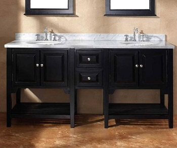 James Martin Solid Wood 72 Double Marble Top Bathroom Vanity Black 206 001 5528