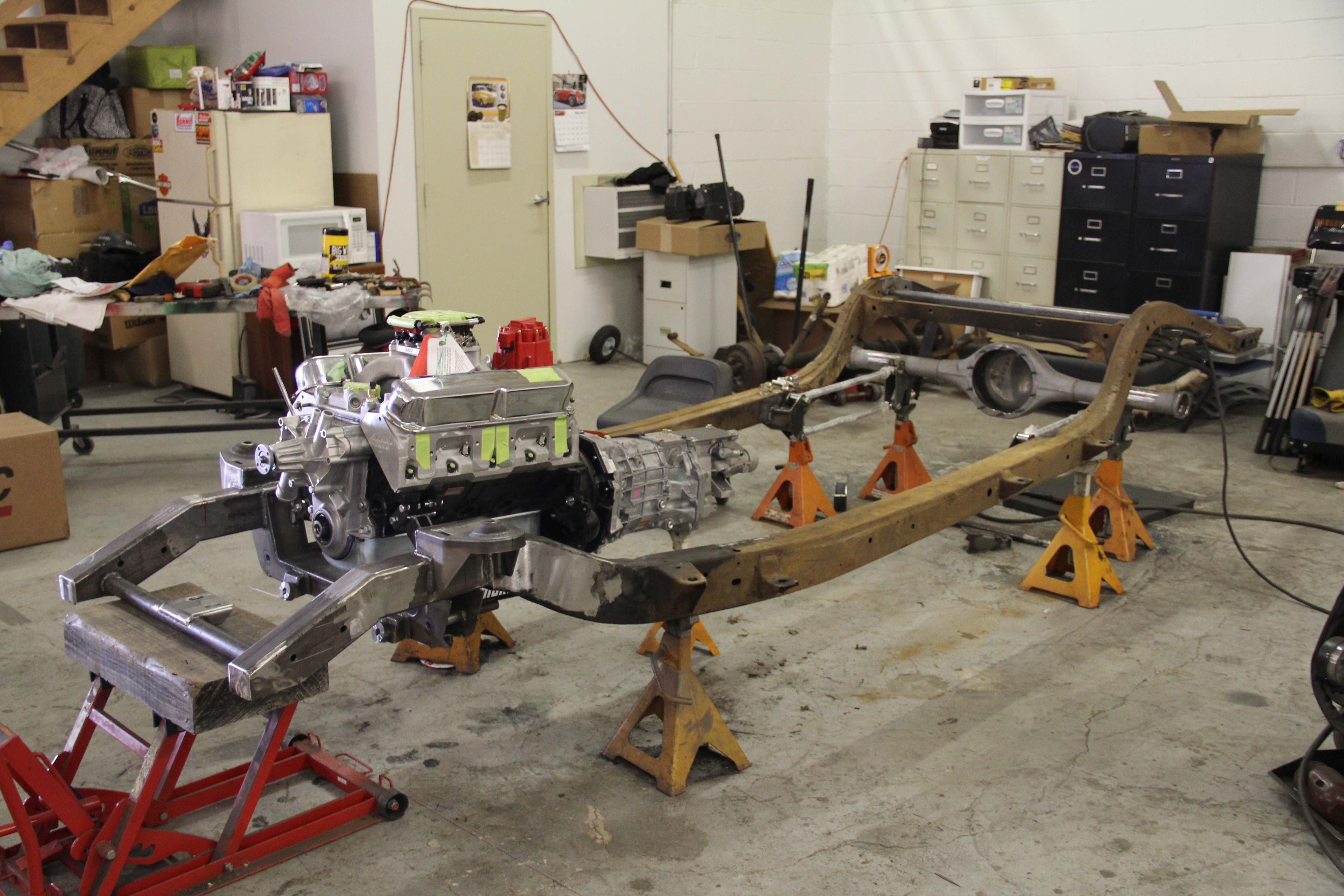 Rutledge woodsummit racing equipment plymouth wagon project update 1953 plymouth chassis with blueprint engines 408 chrysler crate engine and american powertrain t 56 transmission in place malvernweather Images