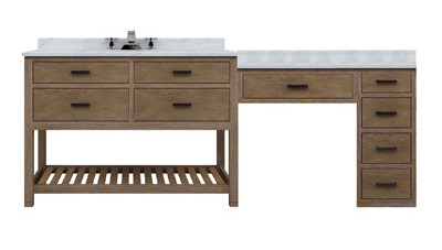 Toby 84 Modular Single Bathroom Vanity With Makeup Station From Sagehill Designs Tb8421d1 M