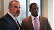 (L to R) Coleman (Alex Kendrick) stands with Tony (T.C. Stallings), his top pharmaceutical salesman, after a tense board meeting in downtown Charlotte. (Courtesy of AFFIRM Films/Provident Films, Photo