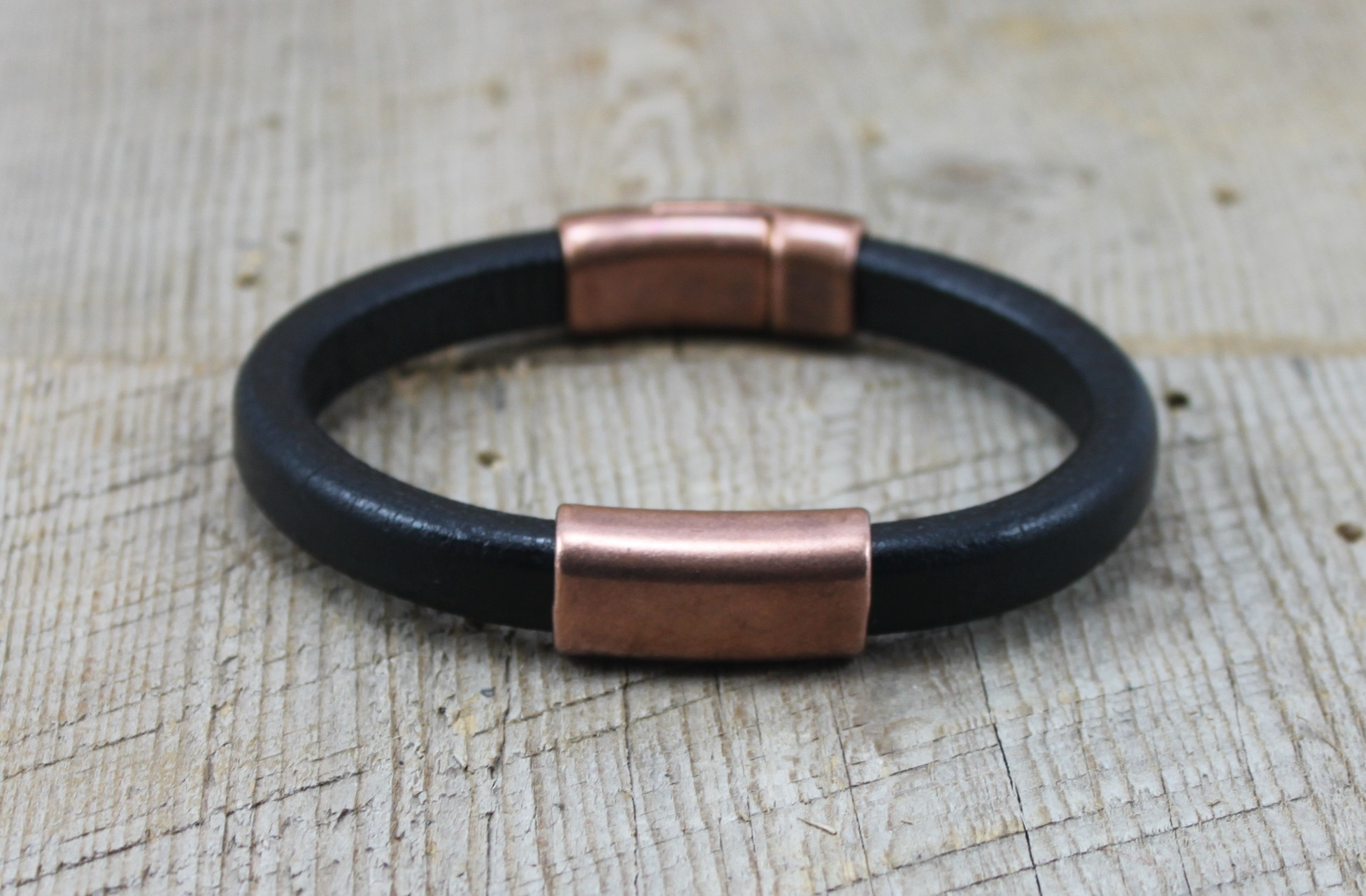 Copper Black Leather Men S Bracelet From Sariblue Deep Thick Oval With Strong Magnetic Clasp