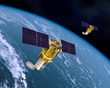 An artist's rendering showing two Boeing 502 Phoenix satellites in orbit.  The inaugural customer for the 502 Phoenix is HySpecIQ of Washington D.C., which ordered a complete hyperspectral imaging sys