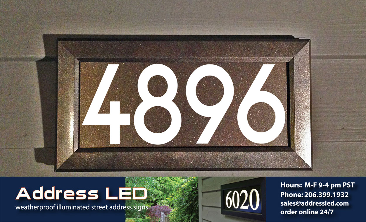 Address Led Expands Their Lighted Street Product Line With The Addition Of Dark Bronze Painted Frame And Matching Metallic Background
