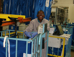 Photo of Marcus Huepenbecker works as a laundry worker at the Bay Pines VA.
