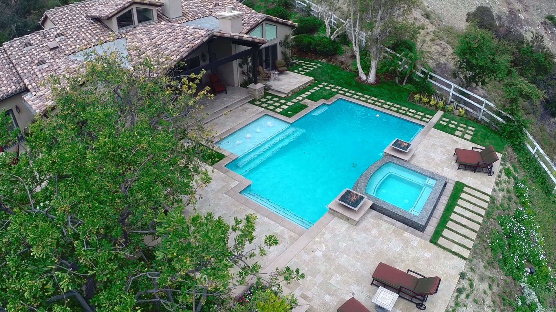 Aerial Drone StillDrone Video Allows Us To Film Shots Of Swimming Pools And Landscaping