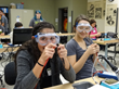 At NEW, high school girls make an LED flashlight in the Sierra College Mechatronics lab.