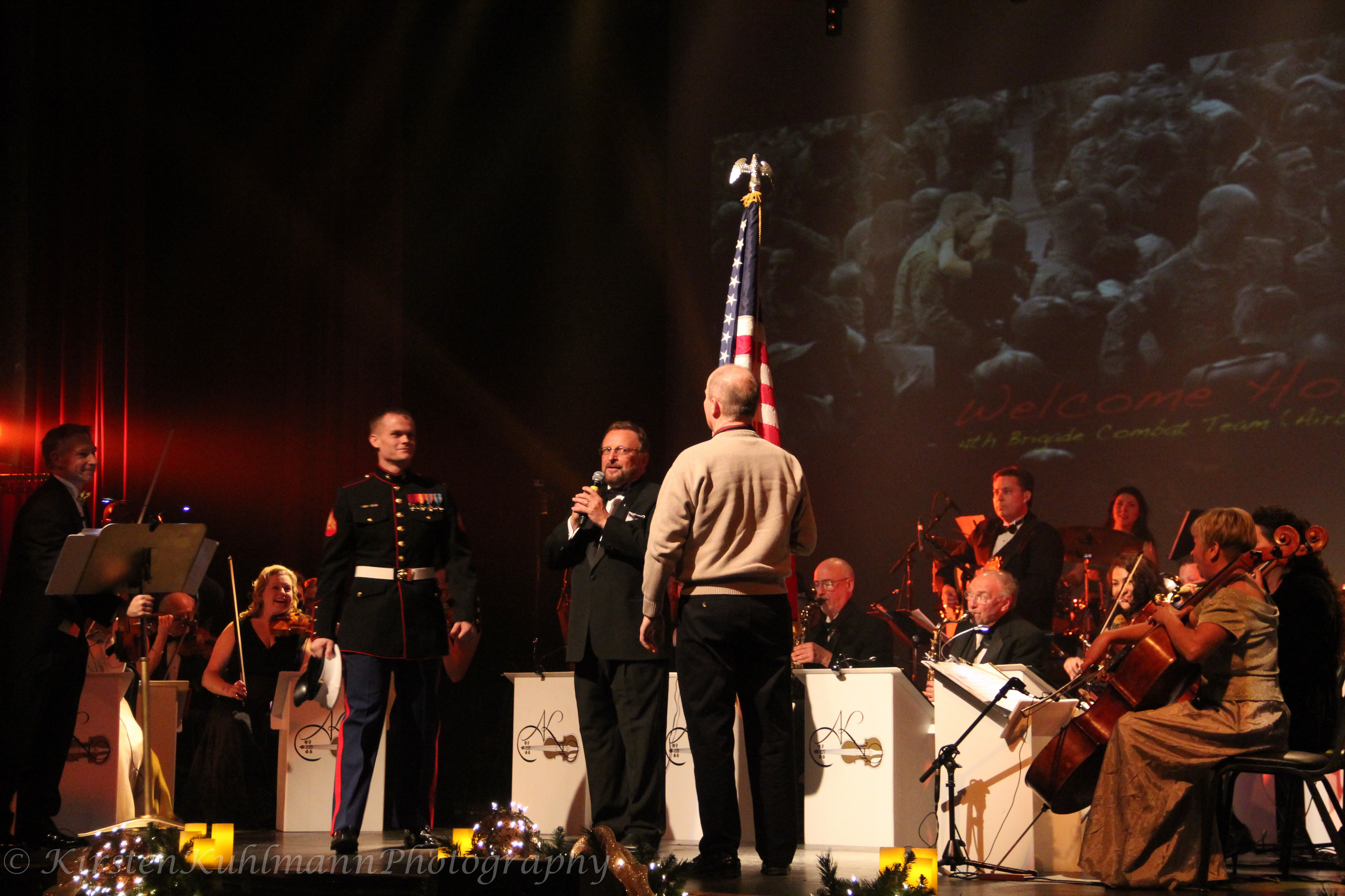 marine surprises father on stage during ako christmas showanthony kawalkowski orchestra helps marine to surprise his family military homecoming shows - Christmas Shows In Chicago