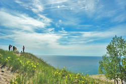 Filming a German-language video at the Sleeping Bear Dunes National Lakeshore