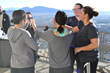 Practice climbers celebrate on Level 112 during last year's Scale the Strat practice climb at Stratosphere Tower.