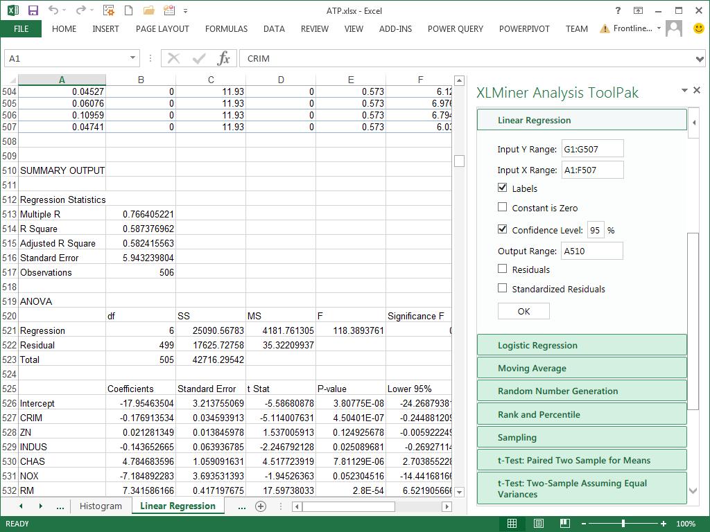 Frontline Systems' XLMiner Analysis ToolPak Brings Popular