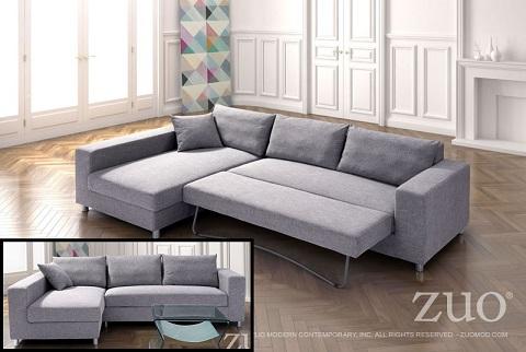 Roxboro Sleeper Sectional In Gray 900653 From Zuo Modern