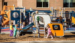 Smart Play: Cube 2-5 delivers a mid-century modern style to playgrounds designed for toddlers and preschoolers.