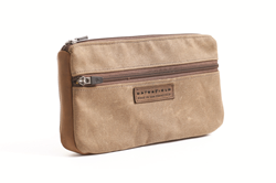 Padded Gear Pouch—waxed canvas with grizzly brown leather details