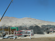 View of the Sierra Gordo construction site, with the arid Atacama Desert in the background.