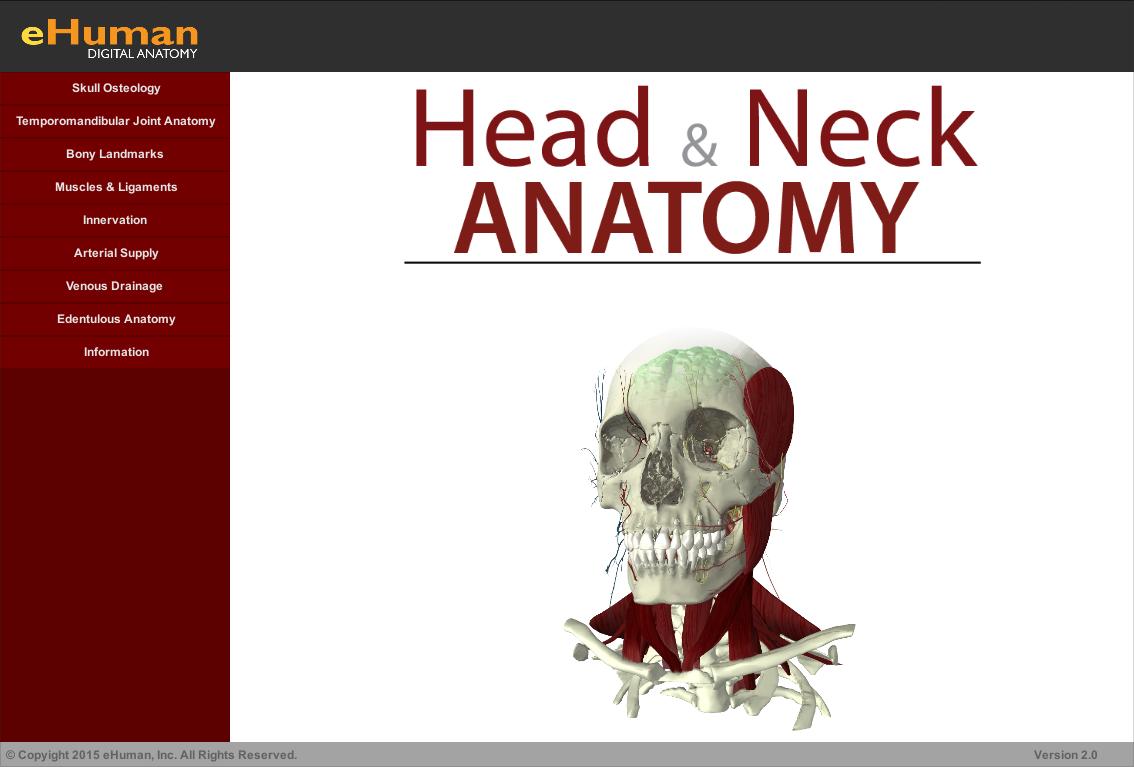 eHuman Digital Anatomy Releases Head and Neck Anatomy Atlas