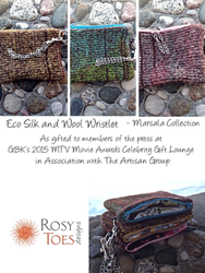 Eco-Silk and Felted Wool Wristlet Clutches from Rosy Toes Designs, as gifted at GBK's 2015 MTV Movie Awards Weekend Gift Lounge.