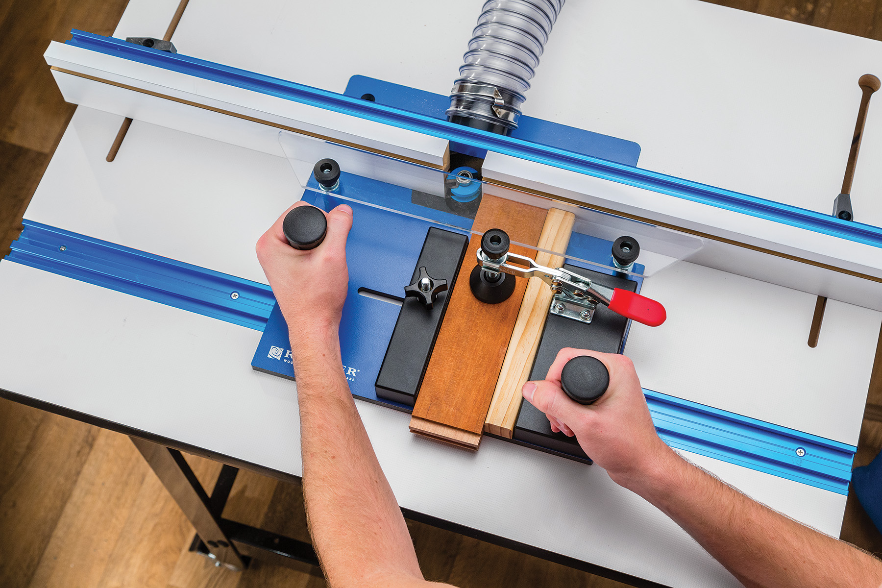 Rockler Introduces Rail Coping Sled Holds Stock Securely