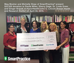 SmartPractice, HonorHealth, breast health, pink ribbon, health care supplies, Phoenix, Paulla Miller, Sherry Gage, Dr. Linda Greer, Ginger Brandt, Meg Mosher, Michelle Shaw