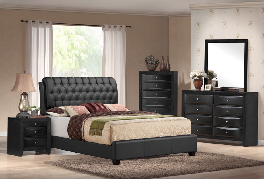 furniture distribution center expands their wholesale 10475 | bedroom emily black upholstred