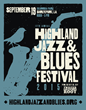 A promotional graphic for the 2015 Highland Jazz and Blues Festival presented by Twisted Root Burger Company