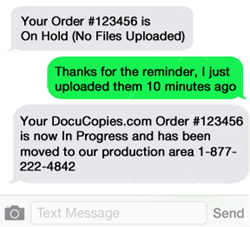 DocuCopies now offers text alerts to avoid print job delays.Text alerts are an important tool to avoid printing delays.