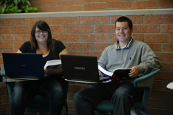 Students studying on campus at Glendale Community College in Arizona.