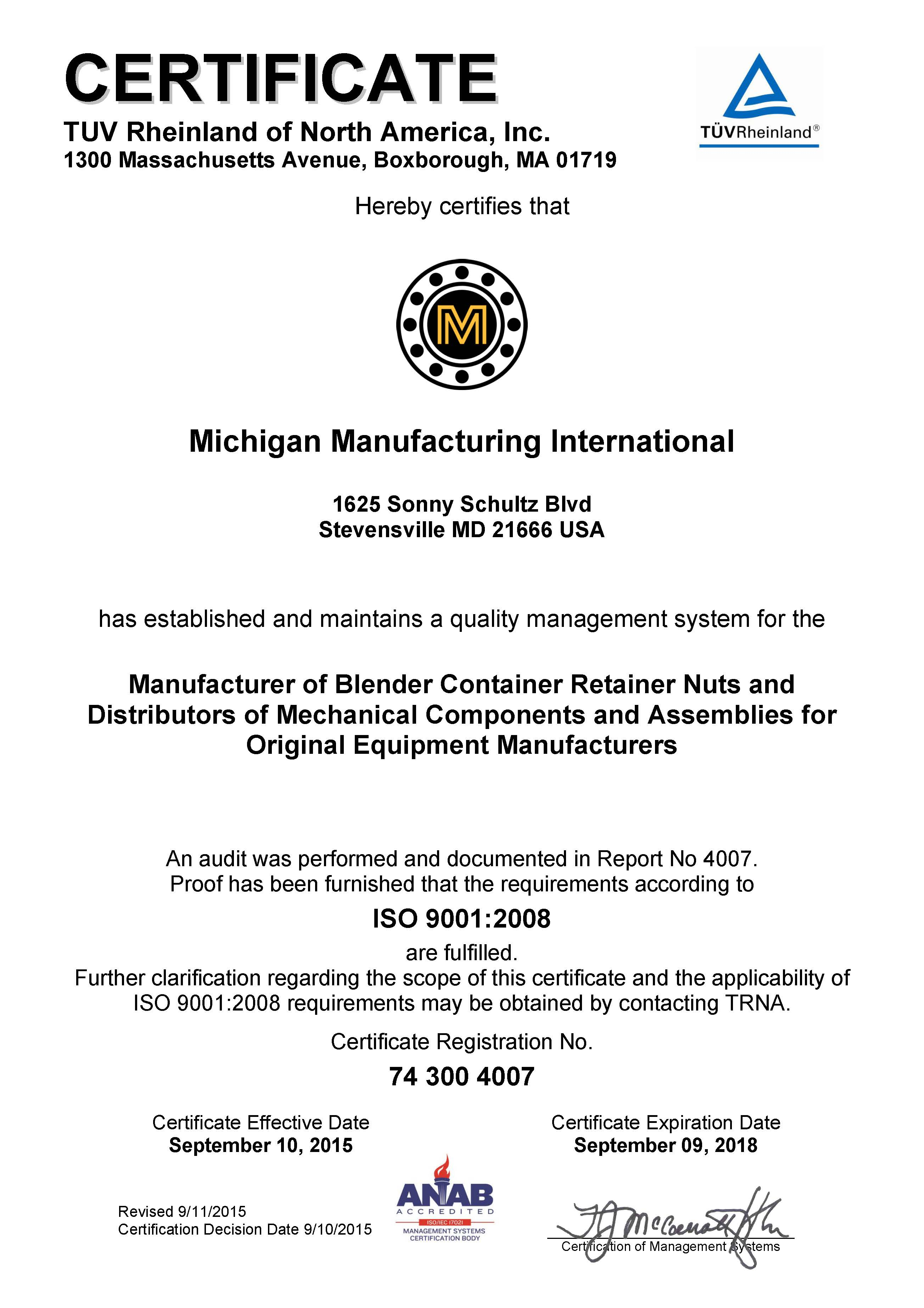 Michigan Manufacturing International Mmi Headquarters Receives Iso