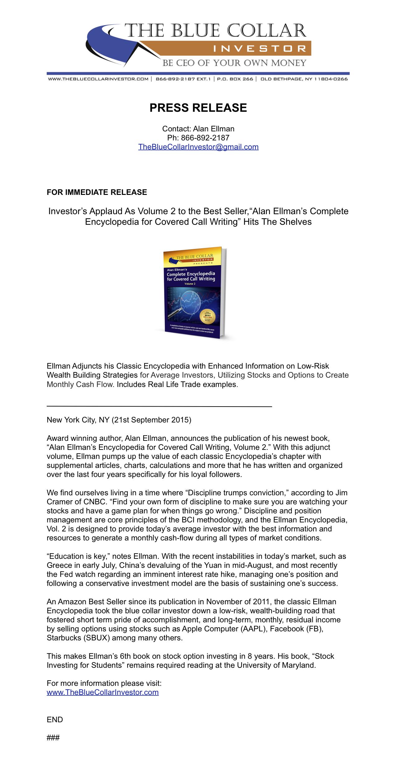 """Investors Applaud as Volume 2 to the Best Seller, """"Alan"""