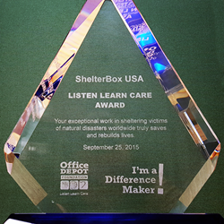 2015 Listen Learn Care Award presented to ShelterBox USA