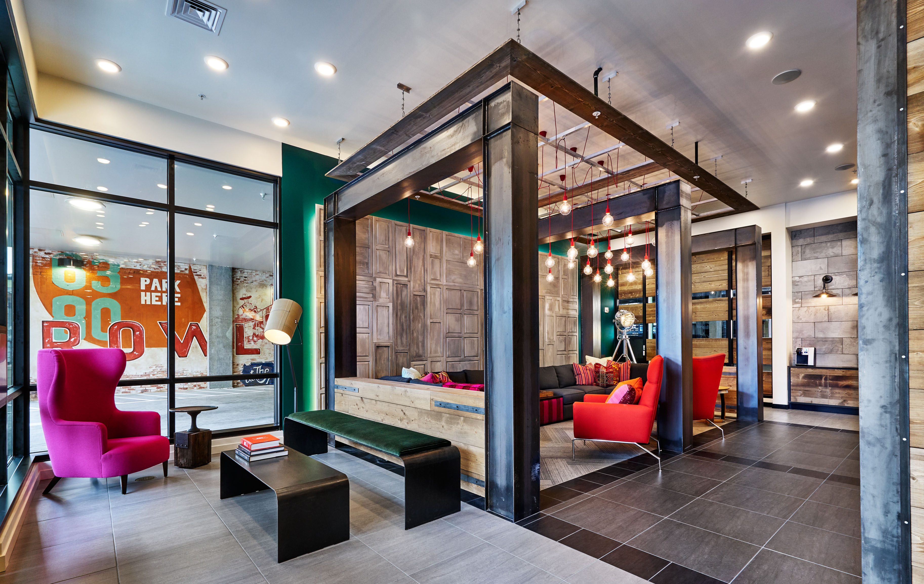 Portland interior design firm uses creative color for Hotel decor ideas