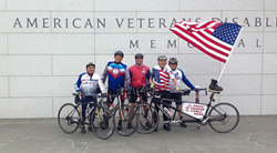 Veterans riding the memorials ride at Face of America.