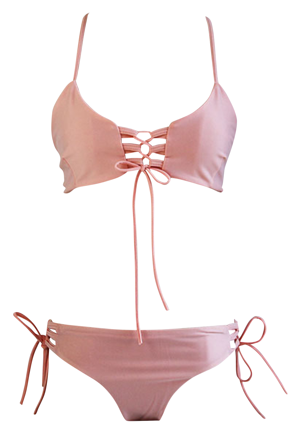 997fb47178f68 Hot Blush Lace-up Front Crossed Back Two Piece SwimwearThe two piece  swimwear is made from polyester and spandex with lace-up front
