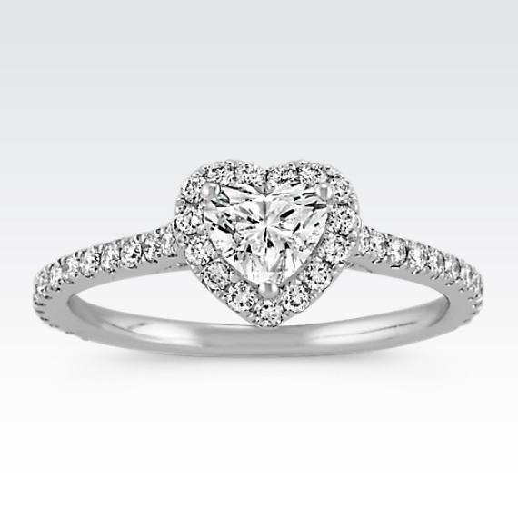 Shane Co. Heart Shaped Halo Diamond Engagement Ring