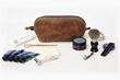 The Curo Dopp Kit—grizzly, naturally-tanned leather