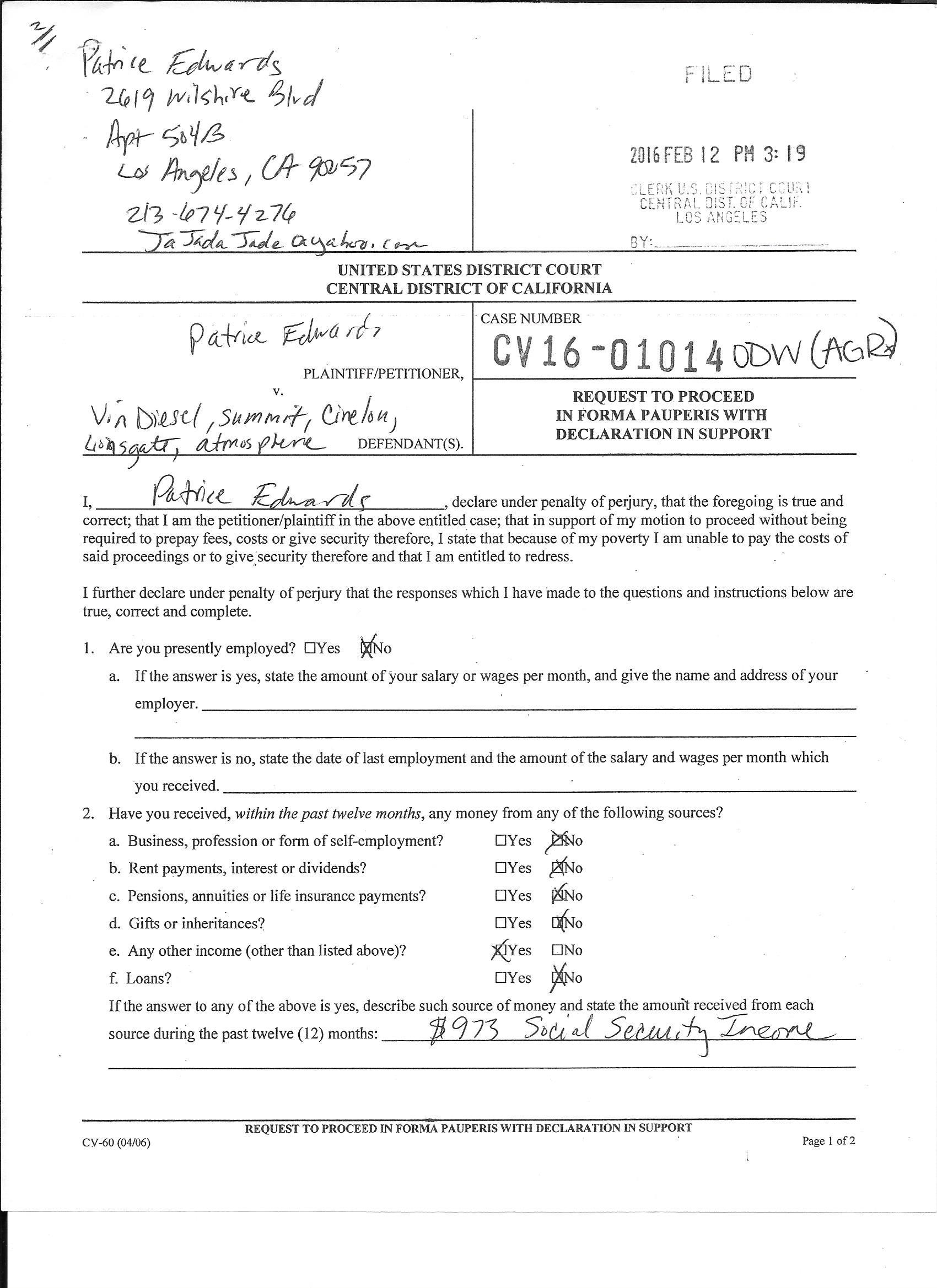 Screenwriter, Patrice Edwards, Files Lawsuit Alleging