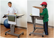 The Focus Desk can be easily raised or lowered by students. Features include integrated hanging folders, divided interior shelves, backpack hooks, drop-leaf worktop extensions, and privacy panels.