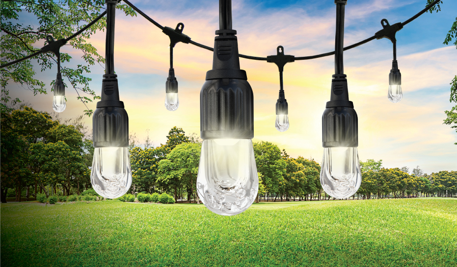 Jasco introduces new enbrighten led caf string lights enbrighten cafe lights by jascoa modern twist to classic outdoor string lights featuring unparalleled led technology and lifetime durability designed to aloadofball Choice Image