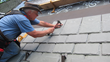Tim Carter installing synthetic roofing from DaVinci Roofscapes, made in Kansas.