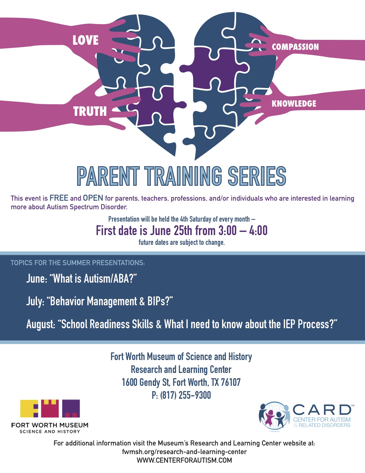 Center for Autism and Related Disorders Presents Parent Training